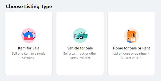 Choose Your Listing Type on Facebook Marketplace