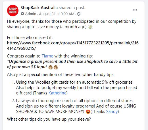 Shopback $250 Winners on Money Saving Tips